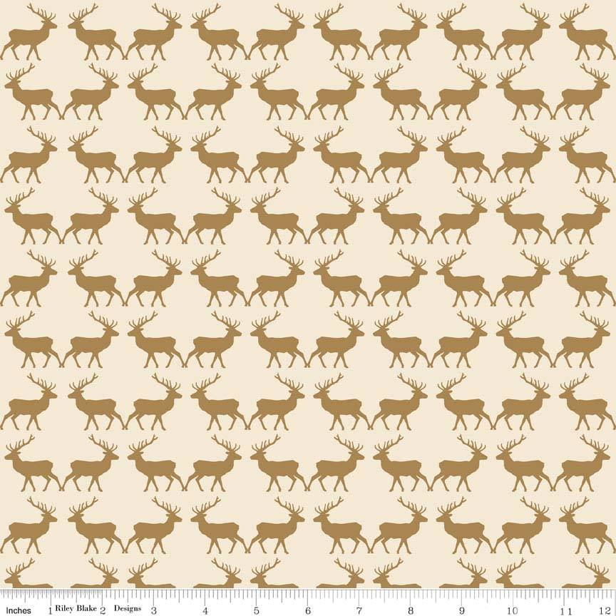 Riley Blake - Postcards for Santa - Deer Gold Metallic