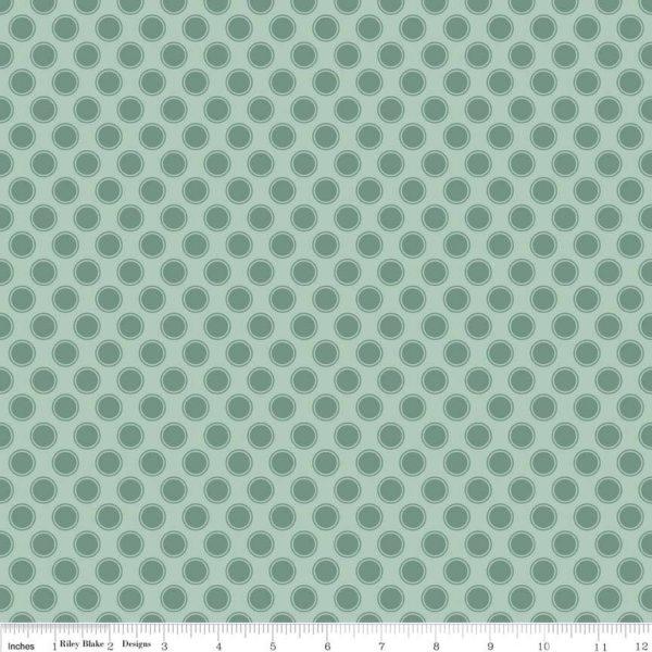 Riley Blake - Postcards for Santa - Dots Green