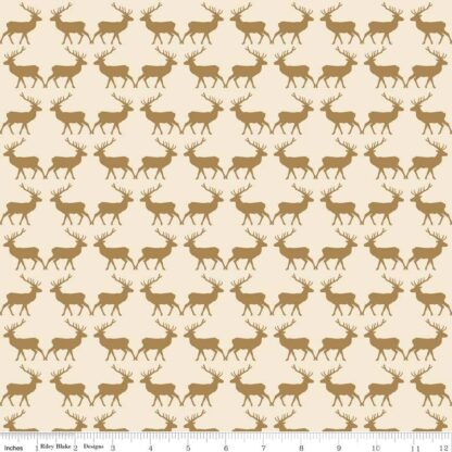 Riley Blake - Postcards for Santa - Deer Gold Metallic