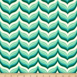 Riley Blake - Acorn Valley - Leafy Chevron Teal in KNIT