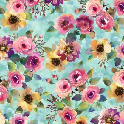 Michael Miller - Floral Fancy - Delicate Breeze (Aqua)