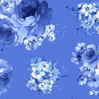 Timeless Treasures - Bluebird - Medium Blue Flowers