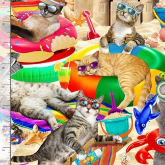 Timeless Treasures - Cool Cats - Chillin' on the Beach